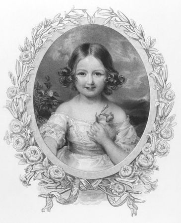 Princess Adelaide (1835 -1900) of Hohenlohe Langenburg on engraving from the 1800s. Niece of Queen Victoria. Published by Fisher, son & Co London & Paris. Stock Photo - 8510551