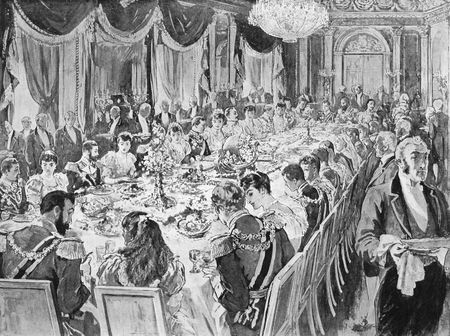 royal wedding: Royal wedding breakfast in the throne room at the Ehrenberg palace in engraving published by the Graphic in 1894. Editorial