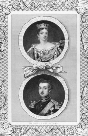 Queen Victoria and Prince Albert on engraving by J.Rogers from the 1800s.  Stock Photo - 8510827