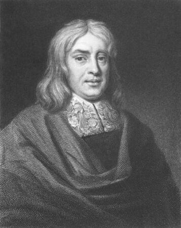 Thomas Sydenham (1624-1689) en grabado desde el siglo XIX. M�dico ingl�s tambi�n conocido como ' el ingl�s Hip�crates '. Grabado por E.Scriven y publicado en Londres por Charles Knight, Ludgate Street. Foto de archivo - 8510816