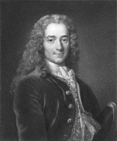 novelist: Voltaire (1694-1778) on engraving from the 1800s. French enlightenment writer, philosopher and essayist, known for his wit and defense of civil liberties, such as freedom of religion and free trade. Engraved by J. Mollison and published in London by Charl Editorial