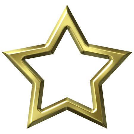 shinning: 3d golden star frame isolated in white Stock Photo