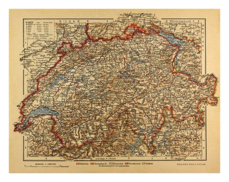 helvetia: Switzerland map published by Knaurs Welt-Atlas in 1900
