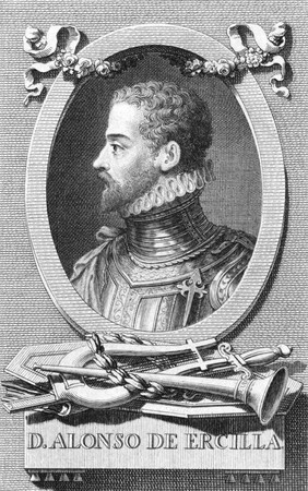 nobleman: Alonso de Ercilla (1533-1594) on engraving from the 1800s. Spanish nobleman, soldier and epic poet. Engraved by Carmona. Editorial