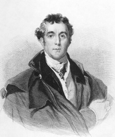 wellesley: Arthur Wellesley, 1st Duke of Wellington (1769-1852) on engraving from the 1800s. Soldier and statesman, one of the leading military and political figures of the 19th century. Engraved by C.E.Wagstaff and published in London by William Mark Clark in 1838.