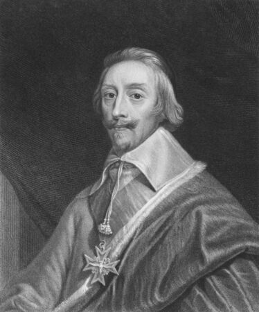clergyman: Cardinal Richelieu (1585-1642) on engraving from the 1800s. French clergyman, noble, and statesman. Engraved by T.Woolnoth and published in London by Charles Knight, Pall Mall East. Editorial