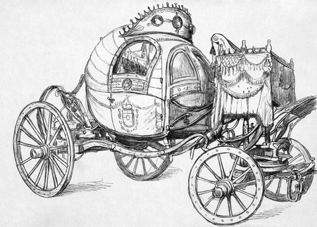 Death's Head Carriage on engraving from the 1800s. It was built by order of the late Duke August of Saxe-Coburg and Altenburg (1804-1822). Published by the Graphic in 1894. Stock Photo - 8511465