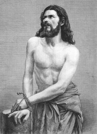 old testament: Jesus Christ on engraving from the 1800s. Perfomed by Joseph Mair in the Oberammergau Passion Play. Published in the Graphic in 1870. Editorial