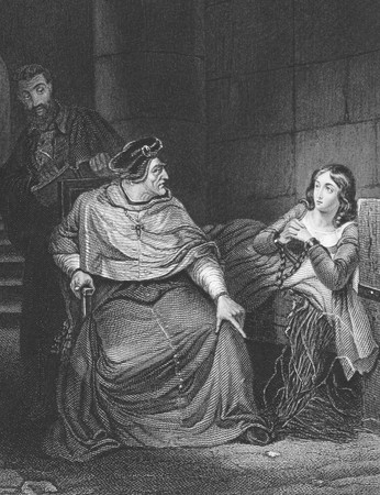 jailhouse: Joan of Arc examined by the Bishop of Winchester on engraving from the 1800s. Engraved by J.White after a painting by De la Roche and published in London by Virtue & Co.