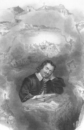 John Bunyan's Dream on engraving from the 1800s.English Christian writer and preacher (1628-1688). Engraved by J.Rogers after a picture by H.Warren and published in London by J.Tallis & Co. Stock Photo - 8511448