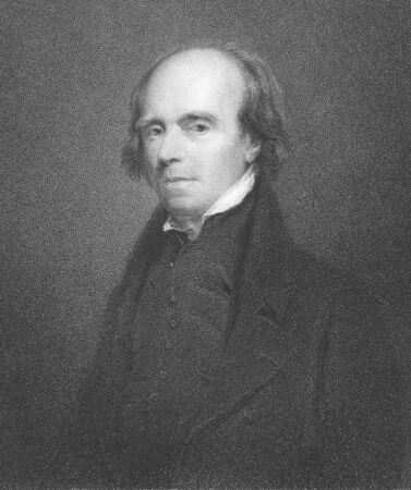 engraver: John Flaxman (1755-1826), incisione dal XIX secolo. Scultore inglese e disegnatore. Incisione di R.Woodman da una foto di John Jackson e pubblicati in London by Charles Knight, Pall Mall East.
