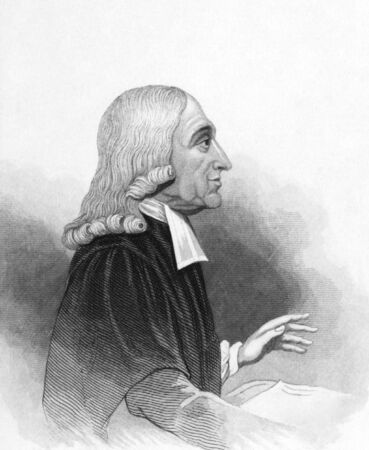 theologian: John Wesley (1703-1791) on engraving from the 1800s. Anglican cleric and Christian theologian. Published in London by L.Tallis. Editorial