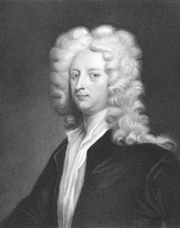 essayist: Joseph Addison (1672-1719) on engraving from the 1800s. English essayist, poet and politician. Engraved by J. Thomson and published in London by Charles Knight, Ludgate Street. Editorial