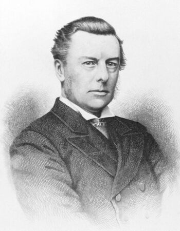 influential: Joseph Chamberlain (1836-1914) on engraving from the 1800s. Influential British businessman, politician and statesman. Engraved by Laurie and published in London by J.S. Virtue. Editorial