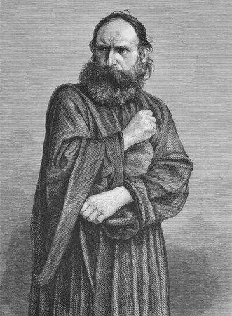 passion play: Judas on engraving from the 1800s. Perfomed by George Lechner in the Oberammergau Passion Play. Published in the Graphic in 1870.