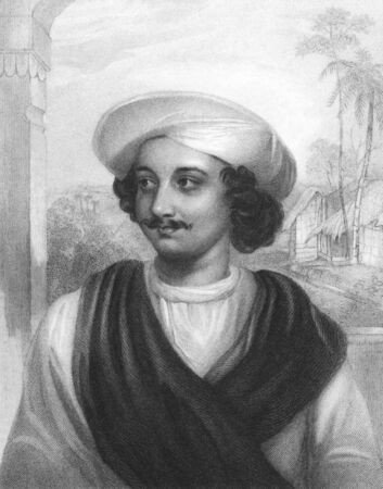 Kasiprasad Ghosh (1809-1873) on engraving from the 1800s. Indian Poet. Engraved by J.Cochran after a painting from J.Drummond and published in London by Fisher, Son & Co in 1834.