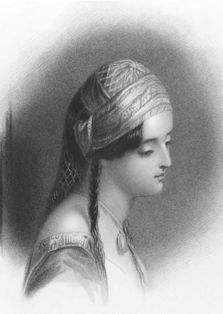makri: Lord Byrons Maid of Athens on engraving from the 1800s. Theresa Makri was a Greek girl, Lord Byron fell inlove and wrote a poem about. Engraved by W.Finden after a drawing by F.Stone and published in London by J.Murray & Co in 1837.