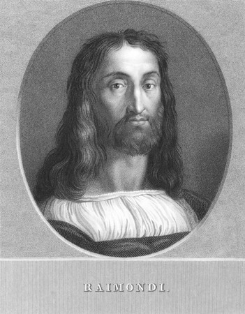 engraver: Marcantonio Raimondi (1480-1534) on engraving from the 1800s. Italian engraver considered a key figure in the rise of the reproductive print. Engraved by W.Holl from a print by Rosaspina after a picture by Raphael and published in London by Charles Knight
