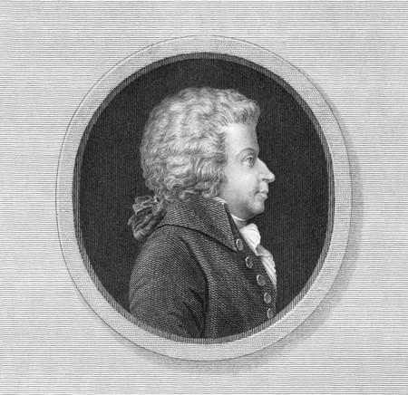 prodigio: Wolfgang Amadeus Mozart (1756-1791) su incisione dal XIX secolo. Uno dei pi� importanti e influenti compositori di musica classica. Inciso da Thomson e pubblicato a Londra da W.S.Orr.