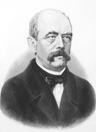 statesman: Otto von Bismarck (1815-1898) su incisione dal 1800. Statista tedesco prussiano e aristocratico. Pubblicato a Londra da J.Haccer, 67, Paternoster Row.