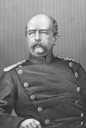statesman: Otto von Bismarck (1815-1898) incisione dal XIX secolo. Statista tedesco prussiano e aristocratico. Incisione di T.W.Hunt e pubblicato a Londra da J.S.Virtue & Co Limited. Editoriali