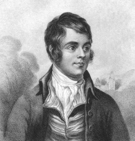 Robert Burns (1759-1796) on engraving from the 1800s. Scottish poet and lyricist. The national poet of Scotland.  Engraved by W.Clerk and published by F.Glover Water Lane, Fleet St.