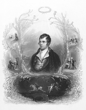 national poet: Robert Burns (1759-1796) on engraving from the 1800s. Scottish poet and lyricist. The national poet of Scotland.  Engraved by A.H. Payne and published in London by Brain & Payne 12 Paternoster Row.