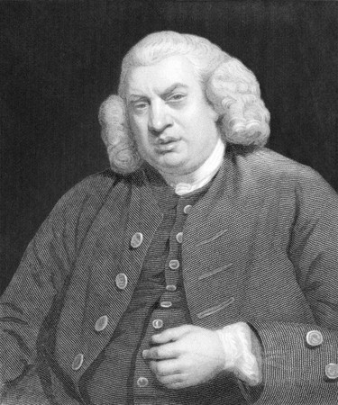biographer: Samuel Johnson (1709-1784) on engraving from the 1800s. English author who made lasting contributions to English literature as a poet, essayist, moralist, literary critic, biographer, editor and lexicographer. Engraved by W.Holl and published in London by