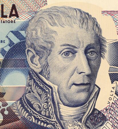 physicist: Alessandro Volta (1745-1827) on 10000 Lire 1984 Banknote from Italy. Italian physicist best known for the development of the first electric cell in 1800.