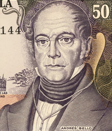 constitute: Andres Bello (1781-1865) on 50 Bolivares 1995 Banknote from Venezuela. Venezuelan  humanist, philosopher, educator, poet, lawmaker and philologist, whose political and literary works constitute an important part of Spanish American culture. Stock Photo