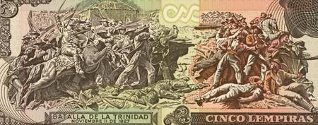 Batalla de La Trinidad en billetes de 5 2004 de lempiras de Honduras. Foto de archivo - 7008420