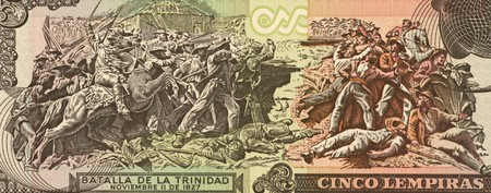 unc: Battle of La Trinidad on 5 Lempiras 2004 Banknote from Honduras. Stock Photo