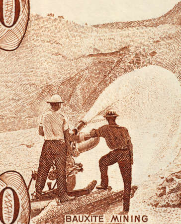 papermoney: Bauxite Mining on 10 Dollars 1992 Banknote from Guyana.