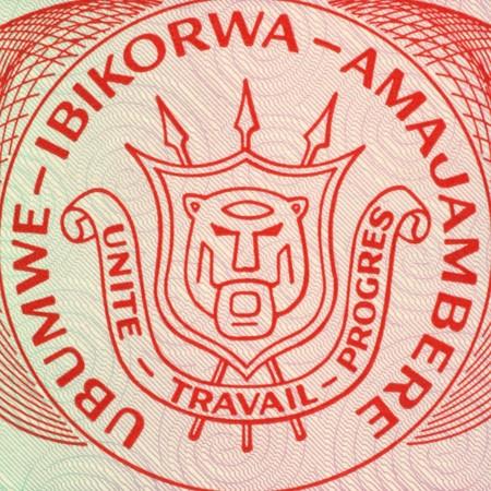 unc: Burundi Arms on 20 Francs 2005 Banknote from Burundi.