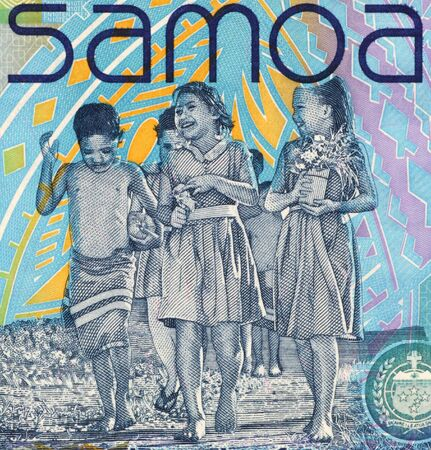 banknote uncirculated: Children on 10 Tala 2008 Banknote from Samoa. Stock Photo