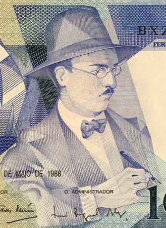 unc: Fernando Pessoa (1888-1935) on 100 Escudos 1988 Banknote from Portugal. Portuguese poet, writer, literary critic and translator.