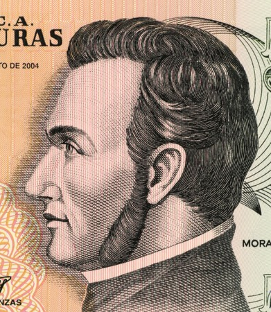 banknote uncirculated: Francisco Morazan (1792-1842) on 5 Lempiras 2004 Banknote from Honduras. General and politician who ruled several Central American states at different times during 1827-1842.