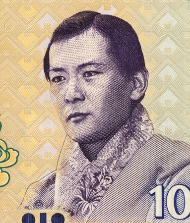 unc: Jigme Singye Wangchuck (1955-) on 10 Ngultrum 2006 Banknote from Bhutan. King of Bhutan during 1972-2006. Stock Photo