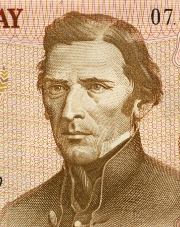 artigas: Jose Gervasio Artigas (1764-1850) on 5 Nuevos Pesos 1975  Banknote from Uruguay. National hero of Uruguay.