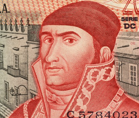 unc: Jose Maria Morelos (1765-1815) on 20 Pesos 1977 Banknote from Mexico. Mexican Roman Catholic priest and revolutionary rebel leader who led the Mexican War of Independence movement, assuming its leadership after the execution of Miguel Hidalgo y Costilla i