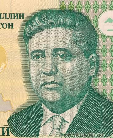 national poet: Mirzo Tursunzoda (1911-1977) on 1 Somoni 2000 Banknote from Tajikistan. Poet, prominent politic figure and national hero of Tajikistan.