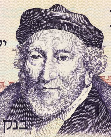philanthropist: Moses Montefiore (1784-1885) on 10 Lirot 1973 Banknote from Israel. Financier, banker, philanthropist and Sheriff of London. One of the most famous British Jews of the 19th century.