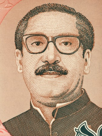 unc: Mujibur Rahman (1920-1975) on 10 Taka 1996 Banknote from Bangladesh. Bengali politician and founder of the Peoples Republic of Bangladesh,  considered as the father of the Bangladeshi nation. Stock Photo