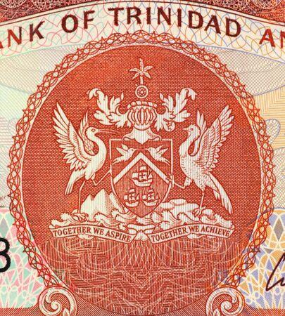 papermoney: Trinidad and Tobago Arms on 1 Dollar 2003 Banknote from Trinidad and Tobago. Stock Photo