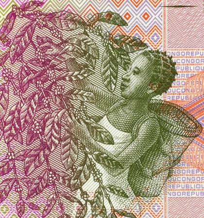 unc: Woman Harvesting Coffee Beans on 1 Centime 1997 Banknote from Congo.