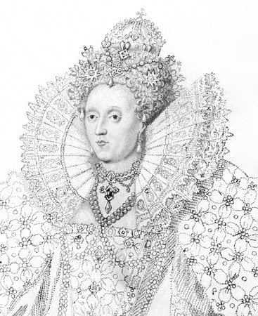 queen elizabeth: Elizabeth I (1533-1603) on engraving from the 1800s. Queen of England and Queen of Ireland during 1558-1603. Published in 1814 by James Caulfield.