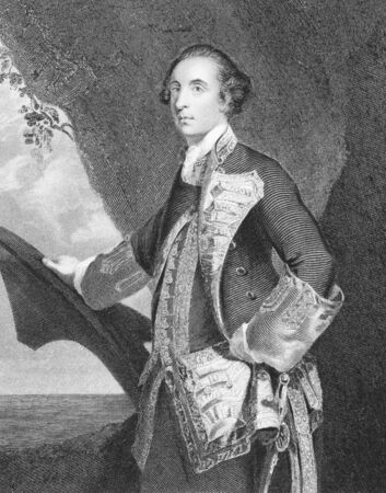 baron: George Brydges Rodney, 1st Baron Rodney (1719-1792) on engraving from the 1800s. British naval officer, best known for his commands in the American War of Independence. Engraved by H.Robinson from a picture by J.Reynolds and published by J.Tallis & Co, Lo Editorial