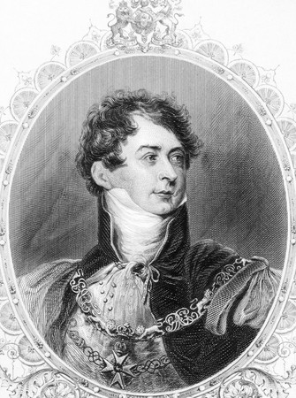 iv: George IV (1762-1830) on engraving from the 1800s. King of Great Britain during 1820-1830. Engraved from a painting by T.Lawerence. Editorial