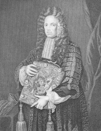statesman: John Somers, 1st Baron Somers (1651-1716) su incisione dal 1800. Giurista inglese Whig e statista. Incisione di W.T.Mote e pubblicato dalla stampa di Londra e Publishing Company.
