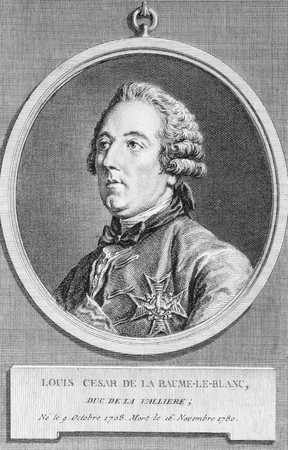 nobleman: Louis Cesar de La Baume Le Blanc (1708-1780) on engraving from the 1700s. French nobleman, bibliophile and soldier. Engraved by C.N.Cochin.